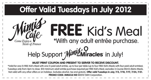 CMN Kids Eat FREE Coupon